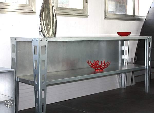 Console m tal pour vaisselle meuble loft cuisine offre - Console pour cuisine ...