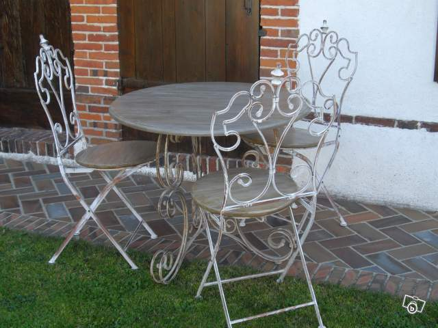 Table fer forge et bois patine offre eure et loir 28170 350 for Table fer forge et bois