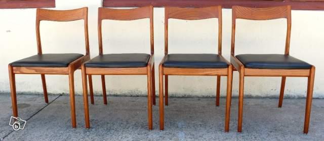 4 belles chaises scandinave en teck vintage 1970 for Belles chaises design
